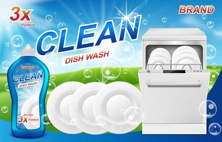 Dish wash soap ads. Realistic plastic packaging with detergent gel design. Liquid soap with clean white bowls, plates, dishes for dishwasher machine. 3d vector