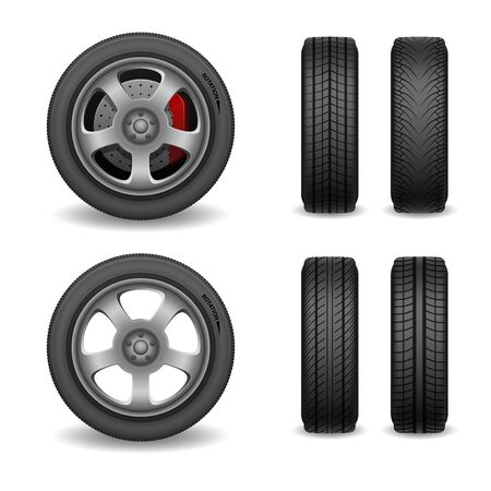 Realistic vector wheel and tires set. Car tires with different tread marks. Vector wheel with brake gear isolated on white. vector illustration