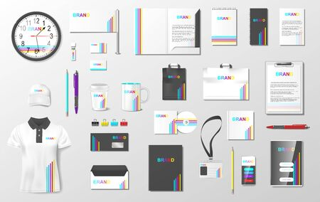 Corporate identity template mockup. Realistic Business Stationery mockup for shop. Brand Fresh color abstract geometric design on uniform, pack. Vector EPS 10