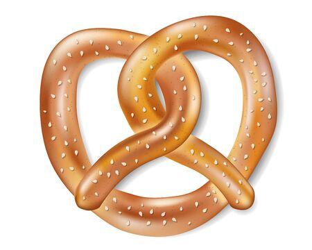 Salty cracker Realistic Pretzel. Tasty isolated Pretzel food for oktoberfest. vector illustration Vektoros illusztráció