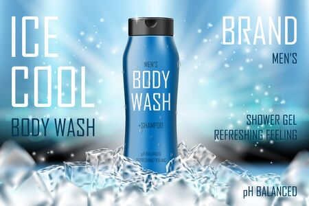Cooling men body wash gel with ice cubes elements. Realistic body wash ad for cosmetic advertising poster design. 3d vector illustration Vektoros illusztráció