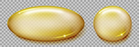 Fish oil capsule isolated on transparent background. Omega 3 or vitamin E golden softgel capsule mockup. Vector illustration