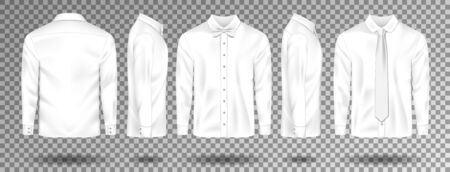 Blank male White shirt with tie and bow tie template isolated. Realistic Men shirt with long sleeves front, side, back view. Vector illustration