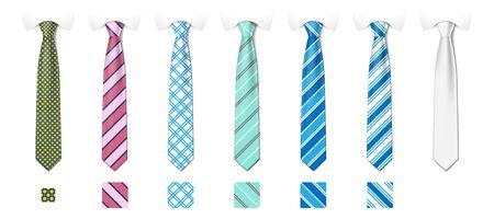 Striped silk neckties templates with textures set. Man colored tie set. Tie mockup with different fashion pattern. Vector illustration Ilustración de vector