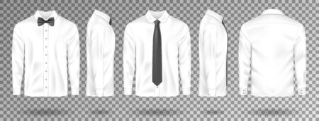 Blank White shirt with black tie and bow tie isolated. Realistic Men shirt mockup with long sleeves front, side, back view. Vector illustration EPS 10