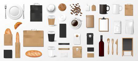 Ensemble de maquettes pour boulangerie, café ou restaurant. Modèle d'identité de marque. Éléments réalistes de la boulangerie, uniforme, pain, croissant, menu, tablier, grains de café, emballage alimentaire, bouteille de vin. Vecteur