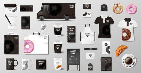 Maquette réaliste pour boulangerie, restaurant, café. Maquette d'emballage alimentaire de boulangerie de style entreprise. Ensemble de tasse, pack, uniforme, chemise, beignet, croissant, sac en papier