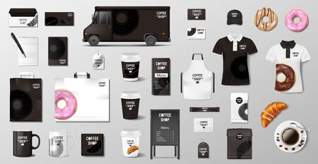 Realistic mockup for Bakery shop, Restaurant, Cafe. Corporate style Bakery food package mockup. Set of cup, pack, uniform, shirt, donut, croissant, paper bag