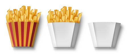 Potatoes French fries in paper box, isolated. Realistic Package Box with fry french potato and empty. Fast food banner. vector illustration
