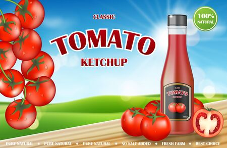 Tomato ketchup ads. Realistic ketchup bottle mockup with fresh tomatoes on countryside sunny background. Sauce promo banner. 3d vector illustration