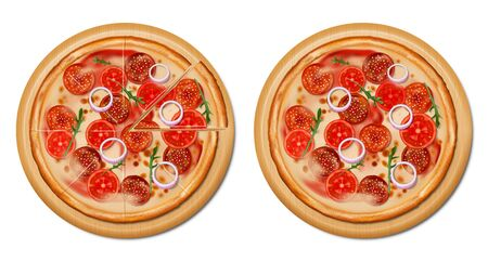Traditional italian pizza Top view. Realistic pizza with tomato, cheese, olive, pepperoni, onion, basil. Isolated european snack. vector illustration.