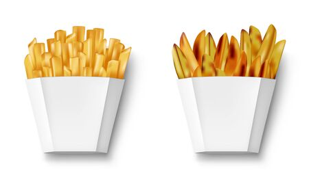 Potatoes French fries and potato wedges in paper box, isolated. Realistic white Package with fry french and wedges potato. Fast food banner. vector illustration Illusztráció