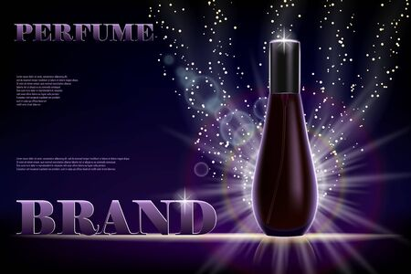 Cosmetic products ad. Perfume bottle container on dark shiny background for your brand. Transparent and shine perfume Vector 3d illustration