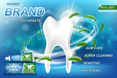 Mint toothpaste concept ads, isolated on blue. Illusztráció