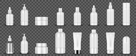 Blank white cosmetic tubes on transparent background. White cosmetic containers hand cream, shampoo, perfume, liquid soap, spray, lotion bottle. Vector