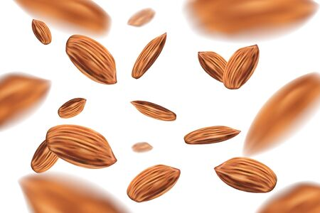 Realistic Falling almond nuts isolated on white background. Template with almonds for packaging design. 3d vector illustration