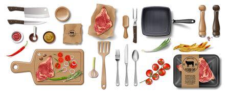 Butcher Shop, Restaurant Brand Identity mockup set isolated. Branding packaging mock up elements for meat shop, cafe or steak house. supermarket food in pack. Vector