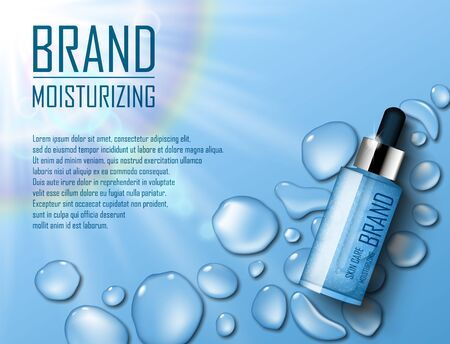 Cosmetic Moisture product. Ads of premium serum essence for skin care with soap bubbles and waterdrop. Template for design poster, presentation, banners, cover. 3d vector illustration.