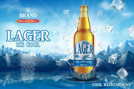 Lager light beer ads. Realistic premium beer in glass bottle on ice cubes and snow mountain background. 3d Vector illustration