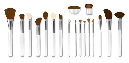 Set of Professional white makeup brushes isolated. Realistic Powder Blush, Eye Shadow, Brush or Brow. 3d Vector illustration