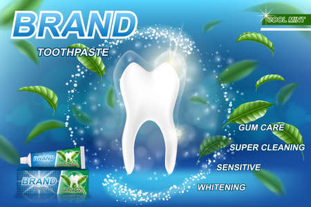 Whitening toothpaste ads, mint leaves background. Tooth model and product package design for dental care poster or advertising. 3d Vector illustration.