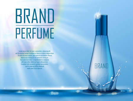 Cosmetic products ad. Realistic perfume container on blue water background with drops and water splash for your brand. Transparent perfume bottle template. Vector 3d illustration Imagens - 151065029