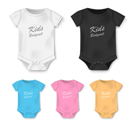 Realistic blank baby bodysuit template isolated. White, black, pink, blue bodysuit, baby shirt mockup. Set of clothes for newborns, top view. Vector illustration Vettoriali
