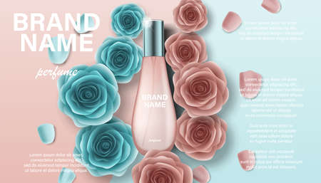 Cosmetics product perfume advertising for your design. Branding package template for catalog, poster. Perfume ad with pink and green rose flowers 3d illustration Imagens - 151500518