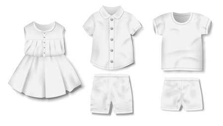 Realistic white blank baby bodysuit, shirt, pants, shorts, dress template isolated. Baby clothing mockup for newborns. Vector illustration Imagens - 151500646