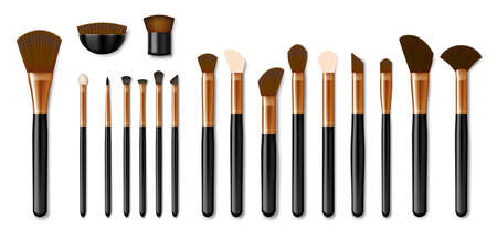 Set of Professional golden makeup brushes isolated on white background. Realistic Powder Blush, Eye Shadow, Brush or Brow. Vector illustration