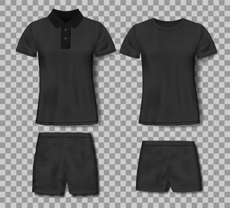 Black realistic slim male polo shirt and sport shorts design template. Set of t-shirts for sport, men classic polo. Vector illustration Imagens - 152413818