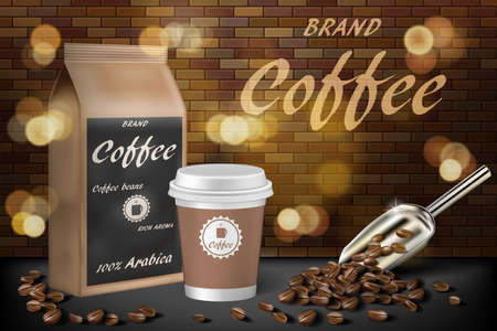 Coffee paper cup with beans ads. 3d illustration of hot arabica coffee. Product paper bag package design with brick background. Vector Imagens - 152666387