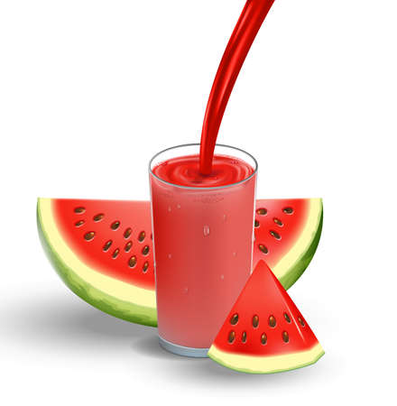 Watermelon juice with splash isolated on white. glass with red fresh Watermelon Juice. 3d realistic Vector illustration for your design
