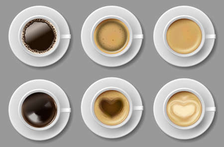 Coffee mug top view collection isolated. Black coffee, cappuccino espresso, latte, mocha, americano cup. vector realistic template