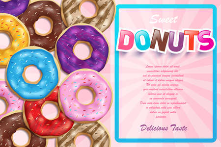 Colorful glazed donuts for ads. Sweet glossy bakery donuts with pink background advertising poster. Realistic round doughnut vector illustration.