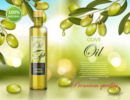 Olive oil bottle design on green shiny background. Transparent glass olive oil ad, package design. Vector 3d illustration