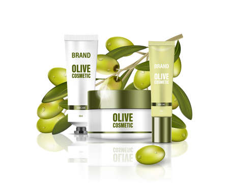 Moisturizing cream jar with milk lotion, face, body and hand cream with olive oil. Cosmetic poster ad with green olives background. Isolated cosmetic package design. Vector Imagens - 153282258