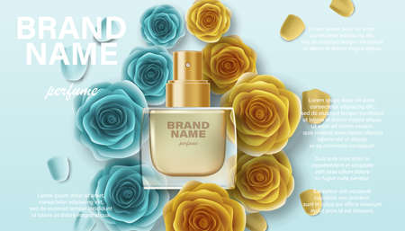 Cosmetics product perfume advertising for your design. Branding package template for promotion, banner, poster. Perfume ad with golden rose flowers 3d illustration