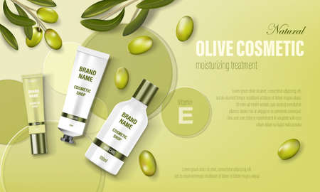 Cosmetic poster ad. Realistic glass jar with green olives, circular disks and realistic tubes. Face cream, body wash, lotion, cosmetic bottle template. Realistic 3d illustration Imagens - 153809077