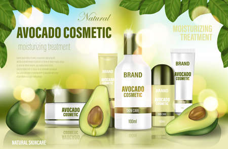 Avocado cosmetic poster ad. Realistic face cream, body wash, lotion, deodorant with green Avocado and tree leaves. Natural cosmetic bottle template. 3d illustration. Ilustracja