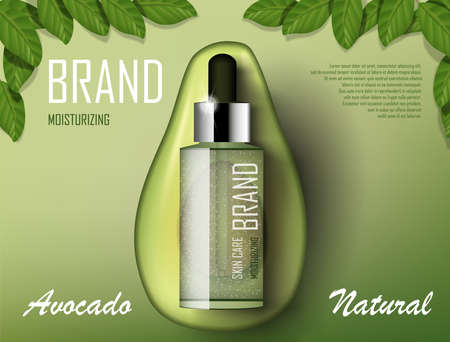 Avocado cosmetics oil template ad. Organic product bottle mockup advertising poster template. Realistic essence product with green avocado and tree leaves. 3d vector Ilustracja