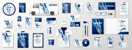 Corporate identity template mockup. Brand blue color abstract geometric mockup on uniform, pack, mug, letterhead, annual report. Realistic Vector Stationery illustration Ilustracja