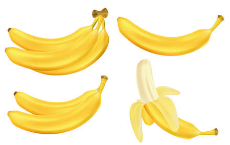 Realistic set of bananas isolated on white. Bunches of fresh yellow banana fruits. Tropical fruits vector illustration