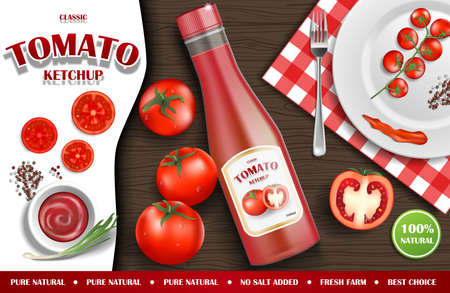 Tomato ketchup ads. Realistic ketchup sauce bottle with fresh tomatoes and plate on wooden background. 3d vector illustration