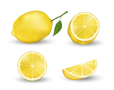 Realistic set of Lemon elements. Fresh yellow lemon isolated on white background with green leaves. Vector 3d illustration Ilustracja