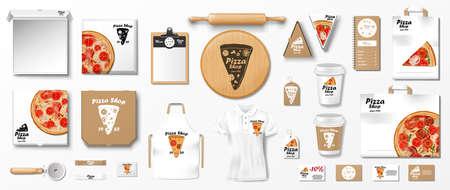 Mockup set for pizzeria, cafe or restaurant. Realistic branding set of poster, pizza slice box, uniform, cardboard package. Pizza mockup elements. vector illustration
