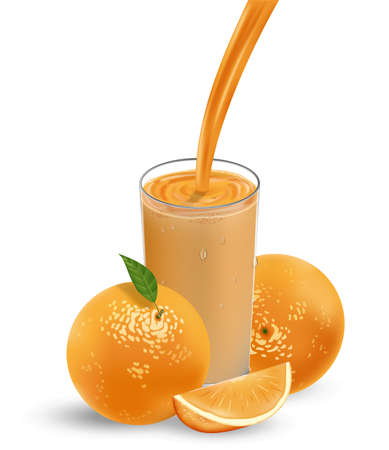 Fresh orange fruit with grean leaves. Orange juice with splash isolated on white. 3d Vector illustration for your design