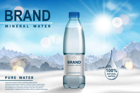 Mineral water ad, plastic bottle on snow with sunny mountain background. Transparent Drinking water Bottle design. 3d vector