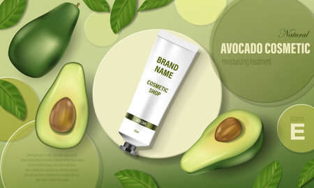 Avocado cosmetic poster ad. Realistic hand cream with green avocado and tree leaves, circular disks and realistic tube. Cosmetic bottle template. Realistic 3d illustration