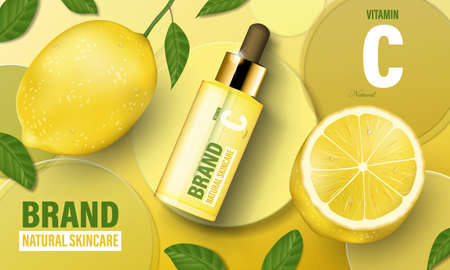 Lemon cosmetic poster ad. Realistic serum with vitamin C, circular disks and cosmetic bottle template. Realistic 3d illustration Stock fotó - 155426497